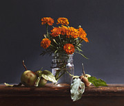 Realist Painting Posters - WILD APPLES and MARIGOLDS Poster by Larry Preston