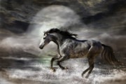 Wild Horse Mixed Media Metal Prints - Wild As The Sea Metal Print by Carol Cavalaris