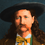 Moustache Digital Art Prints - Wild Bill Hickok 20130518 square Print by Wingsdomain Art and Photography