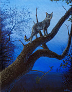 Feline Paintings - Wild Blue by Cara Bevan