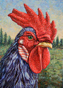 Rooster Painting Prints - Wild Blue Rooster Print by James W Johnson