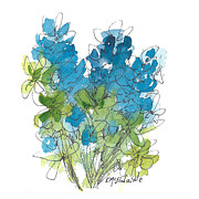 Whimsy Posters - Wild Bluebonnets The Texas Flower Poster by Kathleen McElwaine