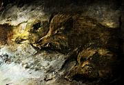 Wild Boar Paintings - Wild Boars Running Across The Snow by Angel  Tarantella