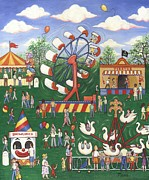 Rides Painting Originals - Wild Carnival by Linda Mears