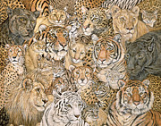 Wild Animals Paintings - Wild Cat Spread by Ditz