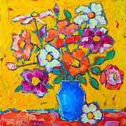 Colorful Floral Gardens Paintings - Wild Colorful Roses by Ana Maria Edulescu