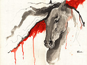 Drawing Painting Originals - Wild dark horse ink and acrylic painting 16 07 2013 by Angel  Tarantella