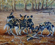 Scenes From Kruger Park Prints - Wild Dogs after the chase Print by Caroline Street