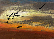 Canadian Geese Pastels - Wild Escape by R Kyllo