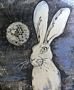 Hare Mixed Media Prints - Wild Eyed Hare Print by Laura Heilman