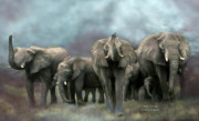 Animal Art Print Mixed Media Posters - Wild Family Poster by Carol Cavalaris