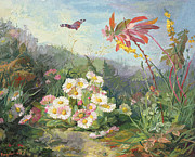Gouache Paintings - Wild Flowers and Butterfly by Jean Marie Reignier