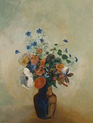 Flower Still Life Posters - Wild Flowers Poster by Odilon Redon