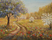 Park Scene Painting Originals - Wild garden path by  Luczay