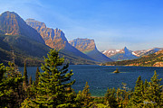 Montana Landscapes Photographs Posters - Wild Goose Island and Saint Mary Lake Glacier National Park Poster by Yefim Bam