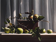 Realist Paintings - Wild Green Apples by Larry Preston