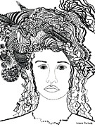 Bad Drawing Drawings Prints - Wild Hair Portrait in Shapes and Lines Print by Lenora  De Lude