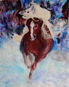 Wild Horses Mixed Media Posters - Wild Heart Running Poster by Helena Bebirian