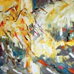 Abstract Horse Paintings - Wild Herd in Sunlight by Laurie Pace