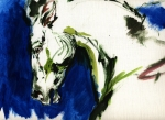 Abstract Expression Paintings - Wild Horse by Angel  Tarantella