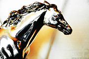 Wild Horse Mixed Media Metal Prints - Wild Horse in Silver and Gold Metal Print by AdSpice Studios