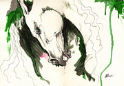Wild Horse Posters - Wild horse ink and acrylic painting 16 07 2013 Poster by Angel  Tarantella