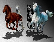 Effects Digital Art - Wild Horses at Gallop by Mario  Perez