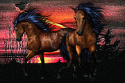 Wild Horses Mixed Media Posters - Wild Horses at Sunset Poster by DoriMarie Maccabee