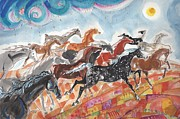 Illustrative Prints - Wild horses Print by Mary Armstrong