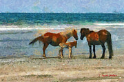 North Sea Paintings - Wild Horses of the Outer Banks by Lynne Jenkins