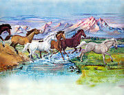 Herd Of Horses Paintings - Wild Horses by Sherry Shipley