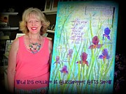 Decoupage Art - Wild Iris collage at Glasshopper Gifts show by Carla Parris