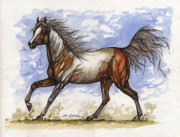 Wild Horses Drawings Metal Prints - Wild Mustang Metal Print by Angel  Tarantella