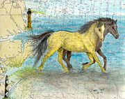 Lookout Painting Prints - Wild Mustang Horses Outer Banks Lighthouses Nautical Chart Map Art Print by Cathy Peek