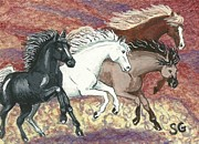 Mustang Paintings - Wild Mustangs -- Cresting the Ridge by Sherry Goeben