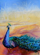 Beverley Harper Tinsley Paintings - Wild Peacock by Beverley Harper Tinsley