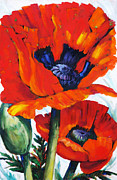 Country Cottage Mixed Media Prints - Wild Poppies - Floral Art By Betty Cummings Print by Betty Cummings