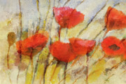 Red Poppies Paintings - Wild Poppies by Lutz Baar