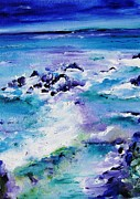Splish Splash Framed Prints - Wild seascape Framed Print by Mary Cahalan Lee