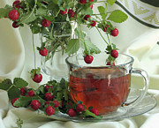 Wild Strawberries Posters - Wild Strawberry Tea Poster by Luv Photography
