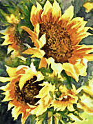 Realistic Mixed Media Prints - Wild Sunflowers Print by Zeana Romanovna