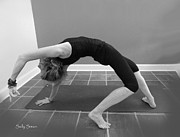 Yoga Images Prints - Wild Thing Yoga Pose In Black and White Print by Sally Simon