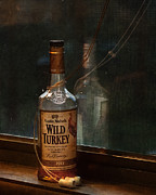 Spirits Photos - Wild Turkey in Window by Brenda Bryant