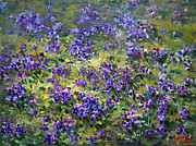 Field Of Flowers Paintings - Wild Violets  by Ylli Haruni