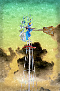 Environment Mixed Media Posters - Wild West Windmill Poster by Andee Photography