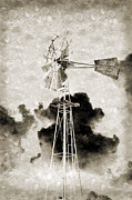 America Mixed Media - Wild West Windmill BW by Andee Photography
