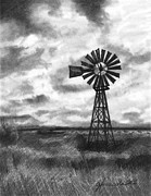 Farming Drawings - Wild Wind And Sunshine by J Ferwerda