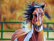 Animal Portraits Pastels Prints - Wild Wind Print by Debbie Patrick