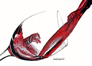 Pouring Wine Drawings Prints - Wild Wine  Print by Dominick Hambrick