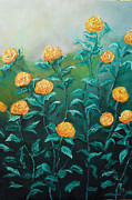Impasto Oil Paintings - Wild Yellow Roses by Meeta Seth